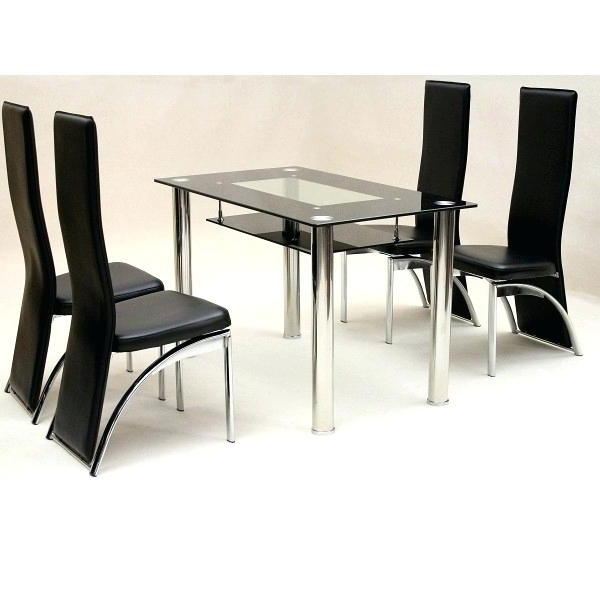 Black Glass Dining Table 8 Chairs Top Set Extending 6 Inside Popular Cheap Glass Dining Tables And 4 Chairs (View 12 of 20)