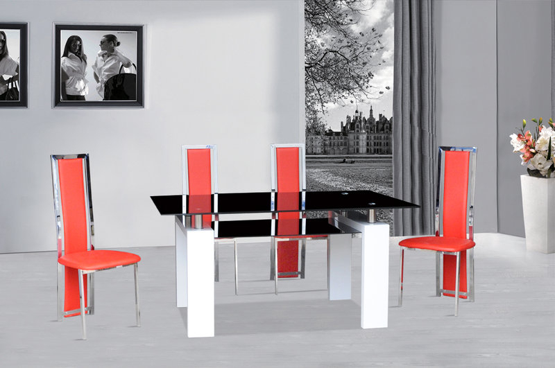 Black Glass Dining Table White Gloss & 4 Red Chairs – Homegenies Inside Newest Red Dining Tables And Chairs (View 6 of 20)