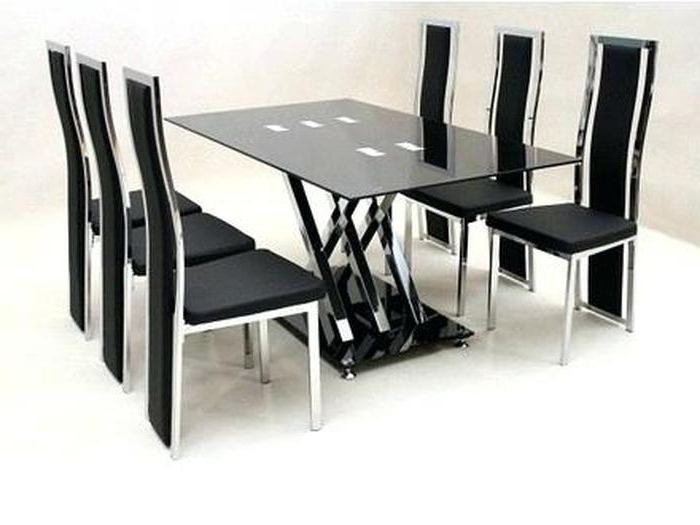 Black Glass Dining Tables 6 Chairs Inside Fashionable (View 9 of 20)