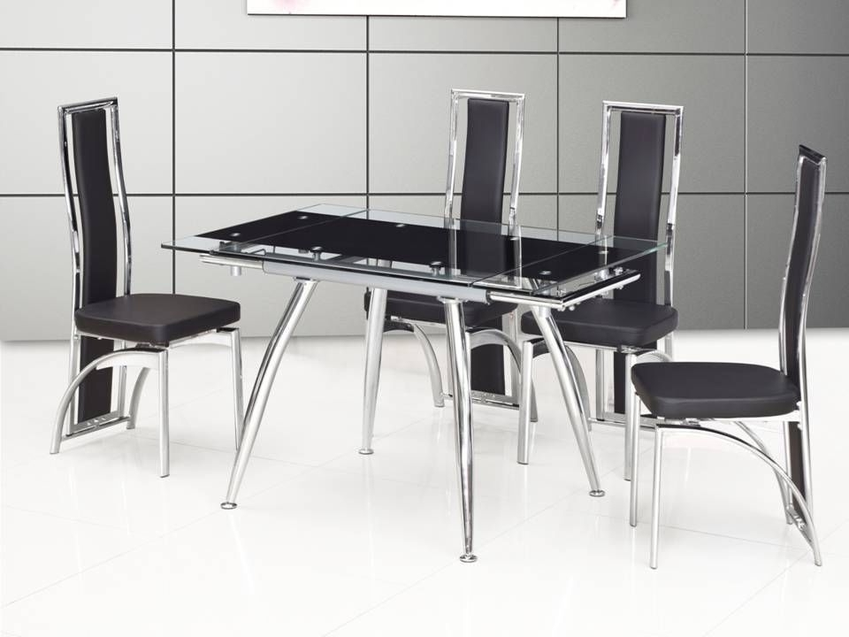 Black Glass Dining Tables And 4 Chairs Inside Latest Small Black Extending Glass Dining Table And 4 Chairs  Homegenies (Gallery 11 of 20)