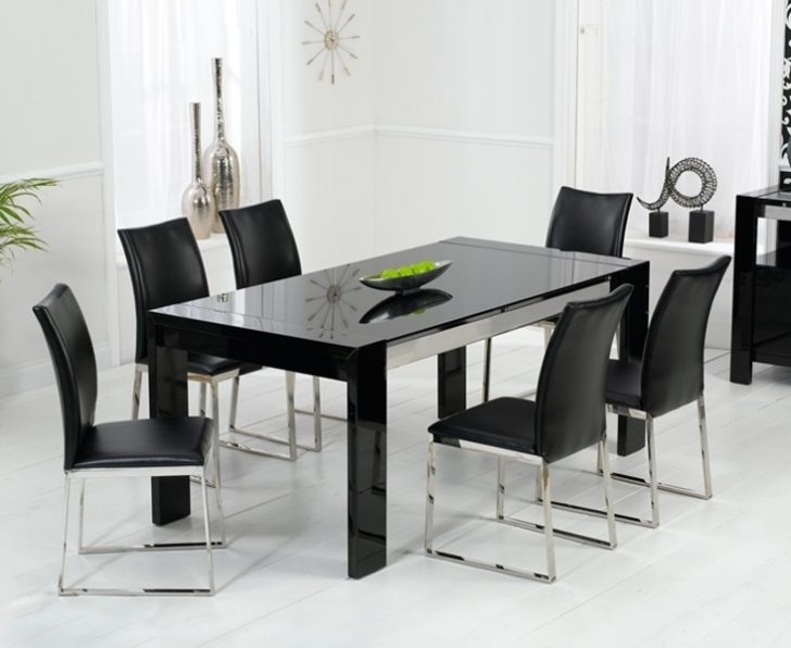 Black Glass Dining Tables Throughout Widely Used Black Glass Dining Table Decorating Ideas With 4 Chairs – Home Decor (View 4 of 20)