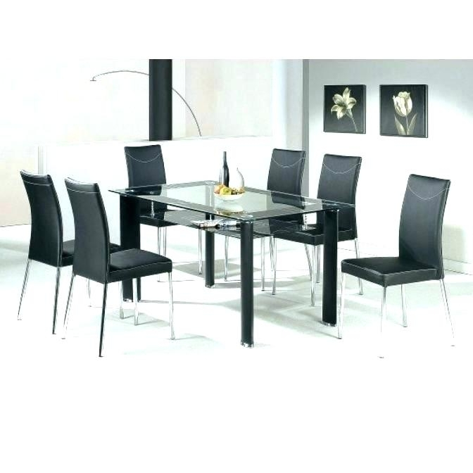 Black Glass Dining Tables With 6 Chairs Inside Most Recent Dining Room 6 Chairs Round Table That Seats 6 Black Extendable (View 5 of 20)