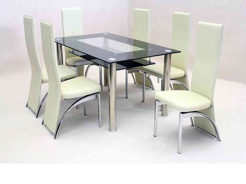 Black Glass Dining Tables With 6 Chairs Regarding Best And Newest Black Glass Dining Table And 6 Faux Chairs In Cream – Homegenies (View 7 of 20)