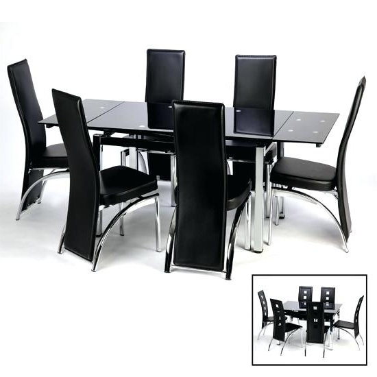 Black Glass Extending Dining Table 6 Chairs Black Extendable Dining Intended For Most Up To Date Black Glass Dining Tables 6 Chairs (View 17 of 20)