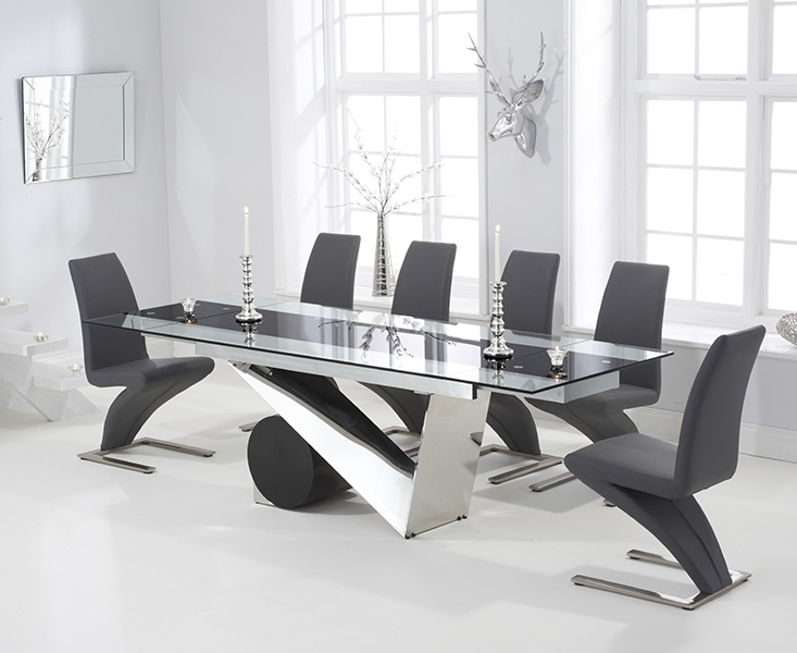 Black Glass Extending Dining Tables 6 Chairs Inside Famous Redcar Glass 170Cm Extending Dining Set With 6 Fusion Z Grey Chairs (Gallery 13 of 20)