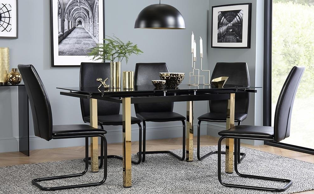 Black Glass Extending Dining Tables 6 Chairs Within Widely Used Space Gold & Black Glass Extending Dining Table With 4 6 Pica Black (View 11 of 20)