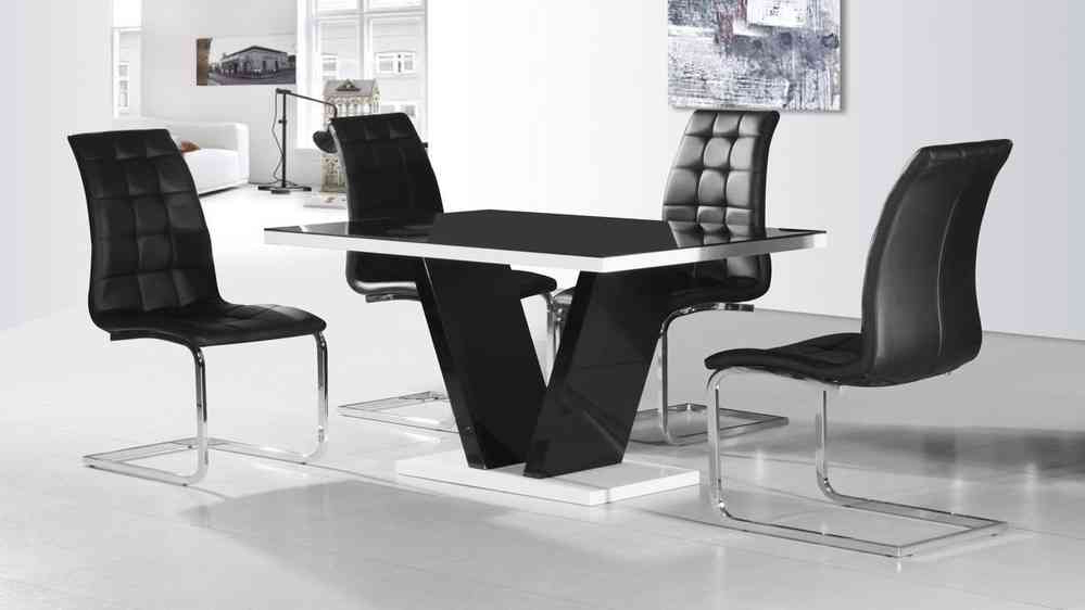 Black Glass High Gloss Dining Table And 4 Chairs – Homegenies Pertaining To Popular Gloss Dining Tables Sets (View 1 of 20)