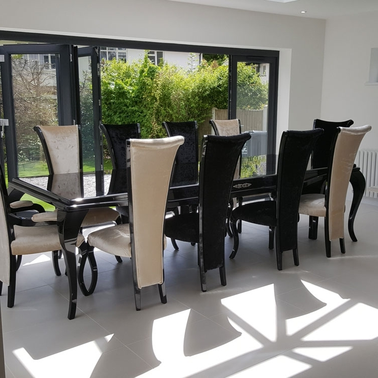 Black Gloss Dining Furniture In Well Known Monaco High Gloss 3M Bespoke Non Extending Dining Table : F D (View 2 of 20)