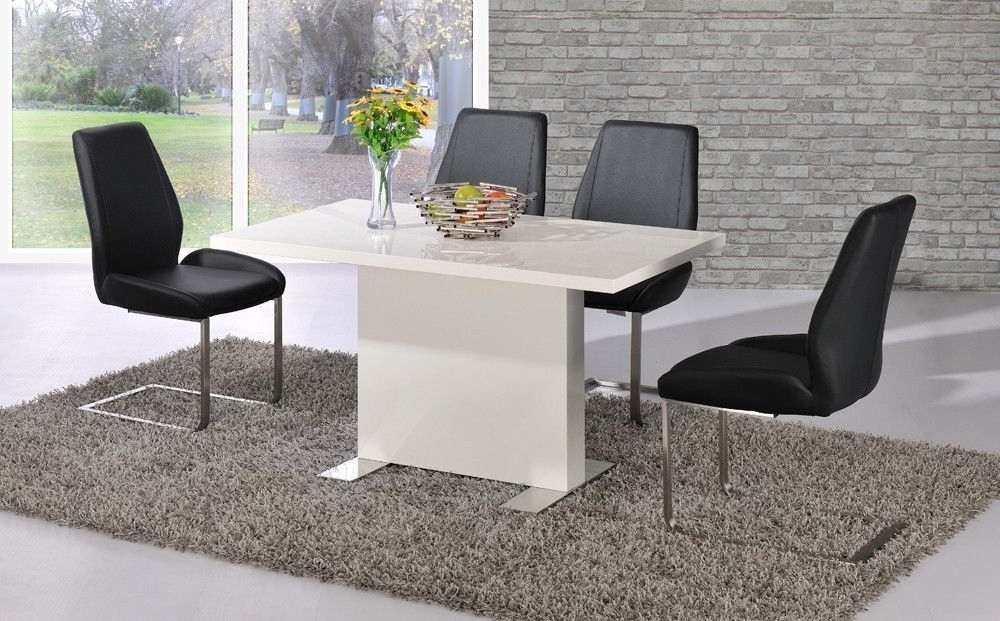 Black Gloss Dining Tables And Chairs Throughout Most Up To Date White High Gloss Dining Table Black Chairs Set Homegenies (View 14 of 20)