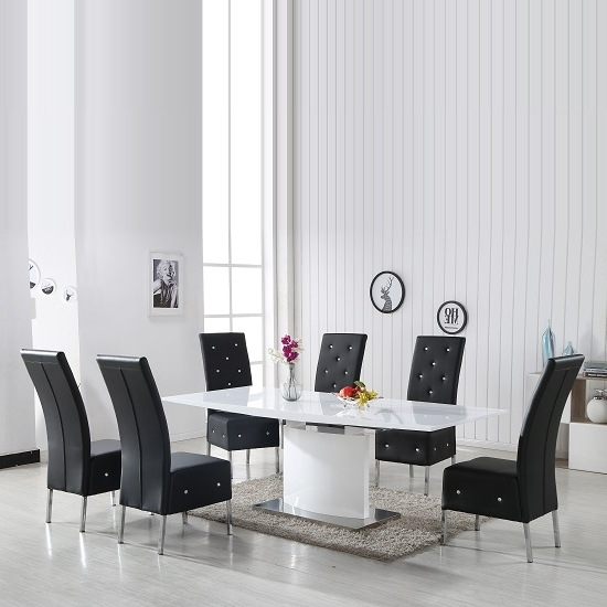 Black High Gloss Dining Chairs Inside Newest Clintock High Gloss Dining Table And 6 Asam Black Chairs (View 12 of 20)