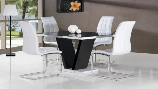 Black High Gloss Dining Tables And Chairs Throughout Popular Zara Black High Gloss Top Small Dining Table Dt 101Bl (Gallery 12 of 20)
