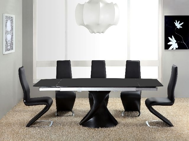 Black High Gloss Dining Tables Pertaining To Popular Twirl Black Matt Extending Dining Table Matt Black Extending Dining (Gallery 13 of 20)