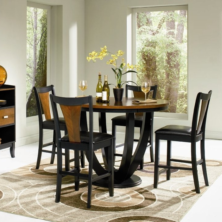 Bloomsbury Market Sarris Round Counter Height Dining Table Reviews For Trendy Market 5 Piece Counter Sets (View 4 of 20)