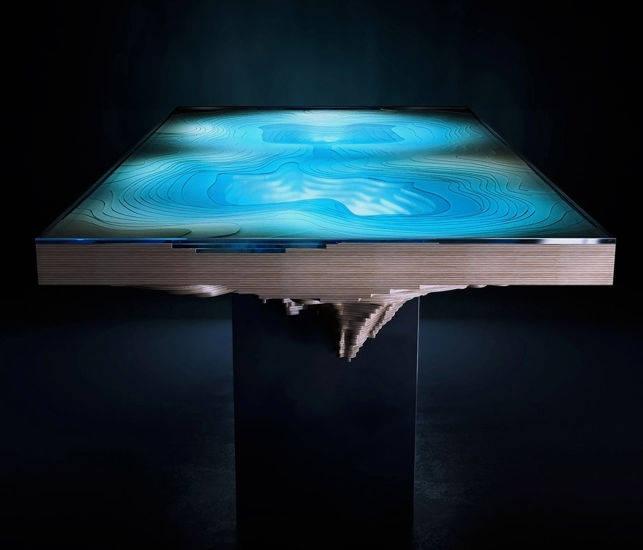 Blue Glass Dining Tables For Famous Duffy London's Abyss Table Resembles Ocean Chasms (View 2 of 20)