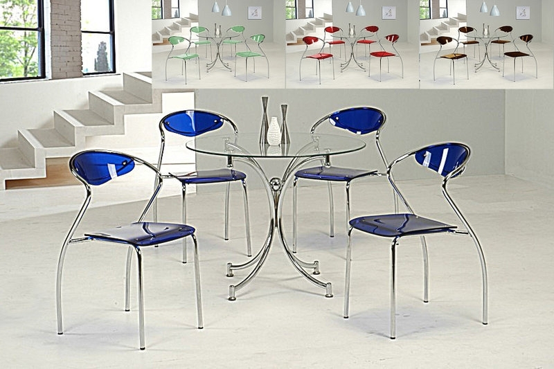 Blue Glass Dining Tables Inside Newest Round Clear Glass Dining Table And 4 Blue Chairs – Homegenies (View 3 of 20)