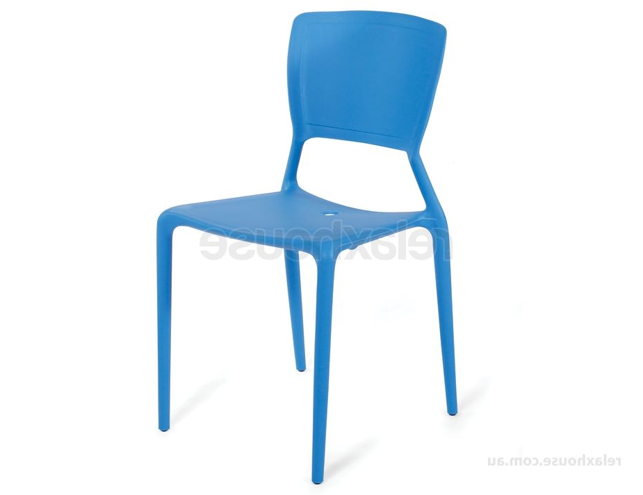 Blue Plastic Stackable Cafe Chair In Preferred Moda Blue Side Chairs (View 11 of 20)