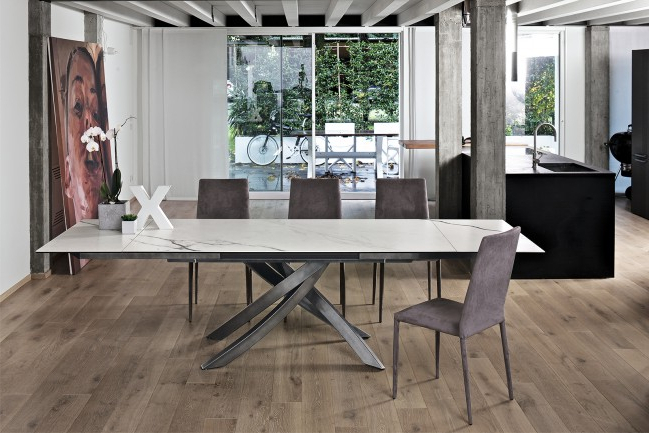 Bontempi Artistico Extending Dining Table Ceramic/marble/concrete Throughout Fashionable Extending Marble Dining Tables (View 3 of 20)