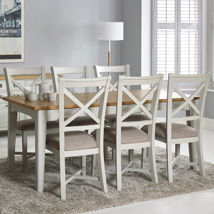 Bordeaux Painted Ivory Large Extending Dining Table + 6 Chairs Throughout Favorite Extending Dining Tables 6 Chairs (View 4 of 20)