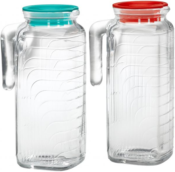 Bormioli Rocco Gelo 2 Piece Glass Pitcher Set With Lids, Red And With Most Up To Date Rocco 9 Piece Extension Counter Sets (View 12 of 20)