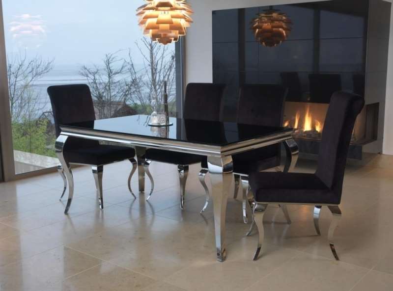 Boston Black Glass Top 200Cm Dining Set With 6 Chairs With Famous Black Glass Dining Tables And 6 Chairs (View 7 of 20)