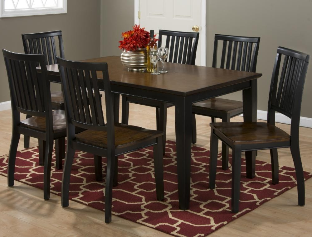 Braden Antique Black Rectangle Dining Table With Six Chairs Throughout Popular Dining Tables And Six Chairs (View 1 of 20)