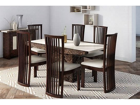 Brand New Boxed Naples Solid Marble Dining Table & 6 Chairs (View 17 of 20)