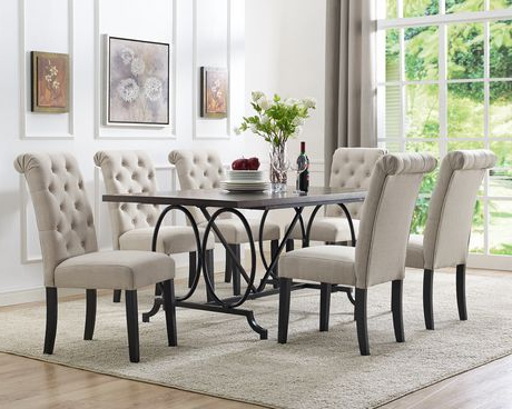 Brassex Inc Soho 7 Piece Dining Set, Table + 6 Chairs, Beige In Famous Dining Tables With 6 Chairs (View 3 of 20)