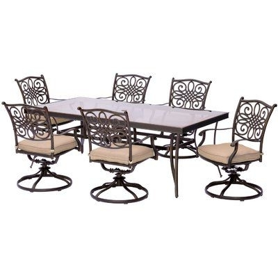 Brayden Studio Swatzell 7 Piece Dining Set With Cushions Cushion Inside Well Liked Chapleau Ii 7 Piece Extension Dining Table Sets (View 1 of 20)