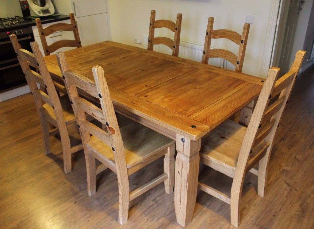 Brazil Oak Dining Table, 6 Chairs And Side Table Setpier 1 For Well Known Oak Dining Set 6 Chairs (View 5 of 20)
