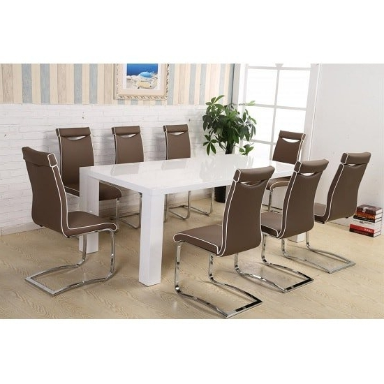 Brittany Dining Table Set In White High Gloss With 8 Dining Throughout Current Brittany Dining Tables (View 19 of 20)