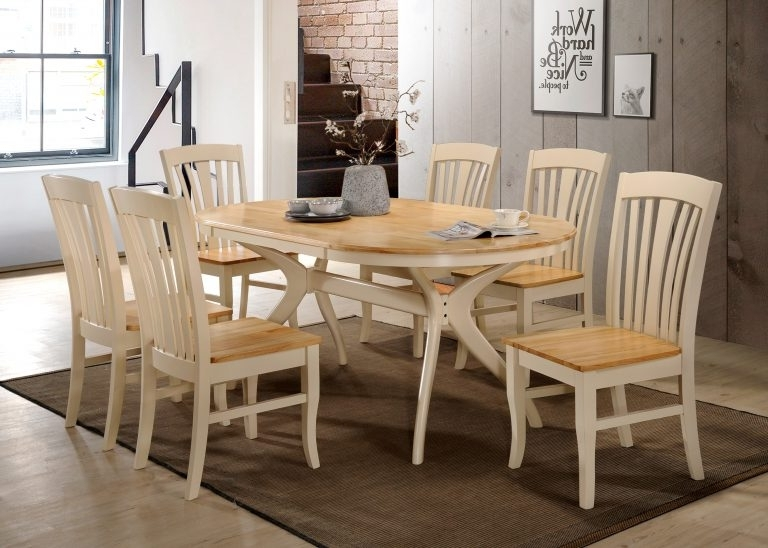 Brittany Dining Tables Inside Best And Newest Oval Dining Table & 6 Chairs – Cream/oak Brittany (View 16 of 20)