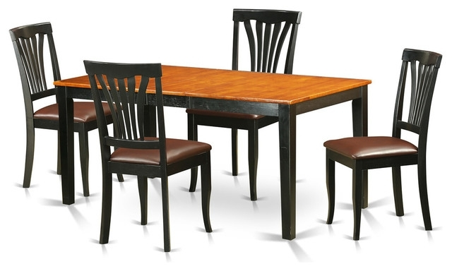 Brittany Dining Tables Intended For Favorite Brittany Dining Table Set, Black And Cherry, 5 Pieces – Transitional (View 7 of 20)