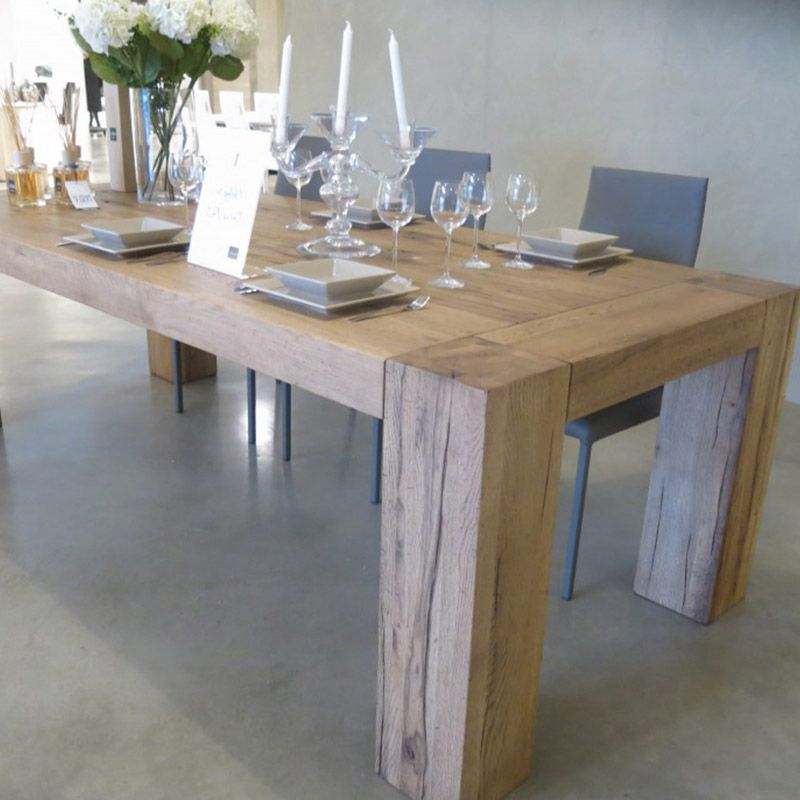 Brooklyn Solid Oak Dining Table With Column Legs (Gallery 8 of 20)