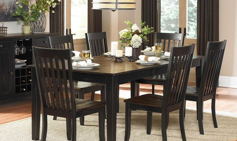 Brown Black Wood Leaf Dining Table Set 7Pcs Casual Homelegance 5023 With Regard To Well Liked Dark Brown Wood Dining Tables (Gallery 7 of 20)
