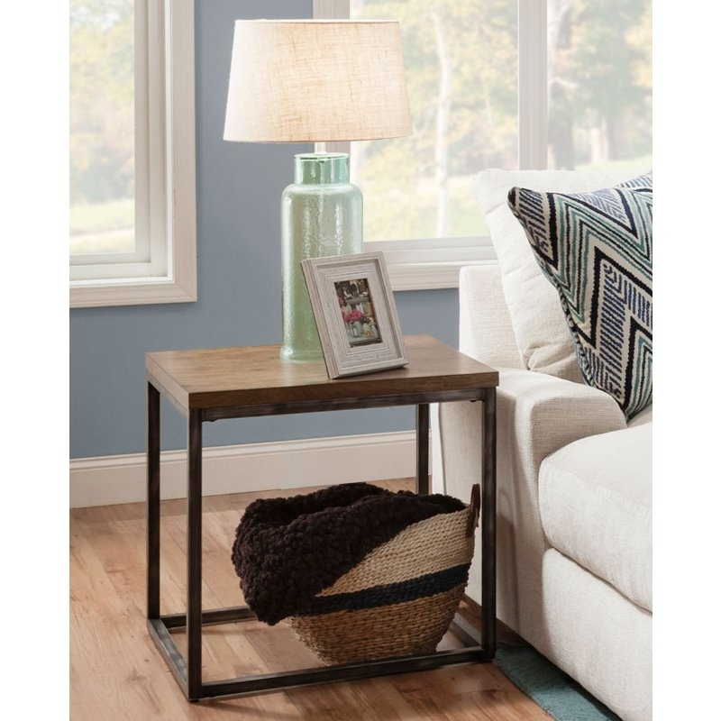 Brown Industrial Rustic End Table – Chandler (View 2 of 20)
