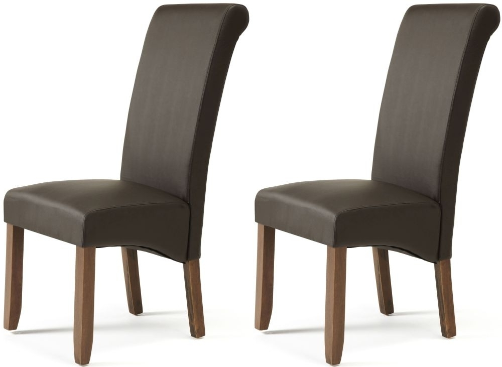 Brown Leather Dining Chairs Inside Favorite Buy Serene Kingston Brown Faux Leather Dining Chair With Walnut Legs (View 8 of 20)