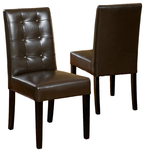 Brown Leather Dining Chairs With Latest Gillian Leather Dining Chair, Set Of 2 – Transitional – Dining (View 4 of 20)