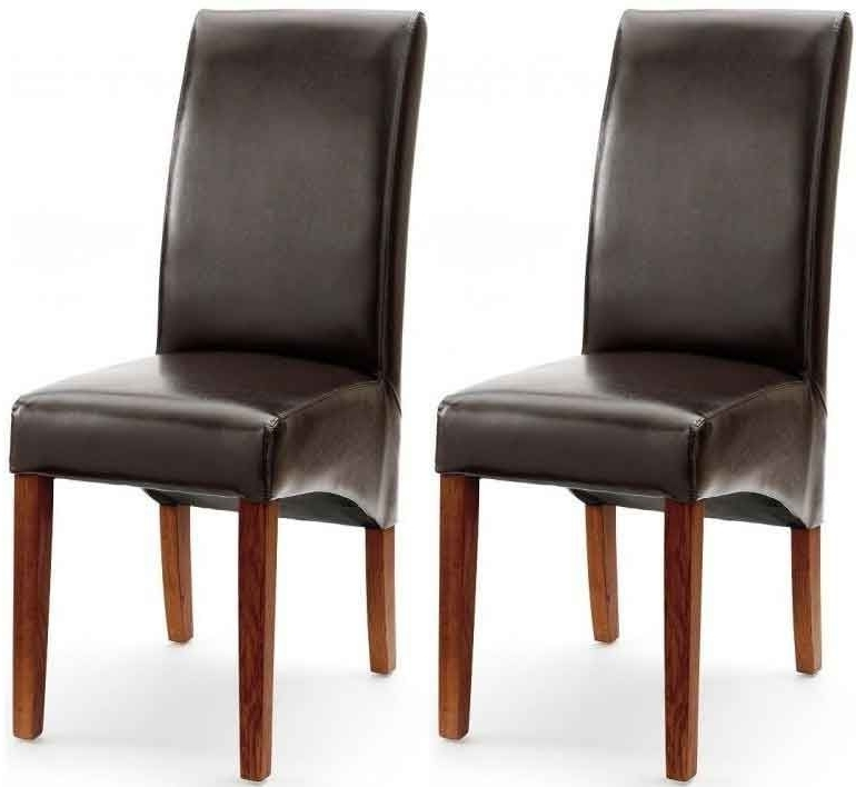 Brown Leather Dining Chairs Within Recent Akron Brown Faux Leather Dining Chair With Dark Leg (Pair) (Gallery 17 of 20)