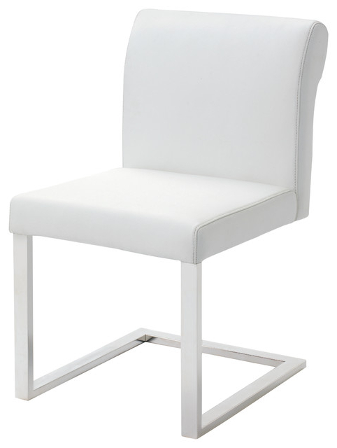 Bruno White Leather Dining Chair – Modern – Dining Chairs  Ebpeters In Best And Newest White Leather Dining Chairs (View 3 of 20)