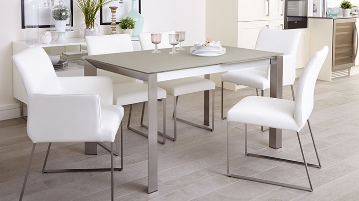 Brushed Metal Dining Tables Inside Well Known White Frosted Glass Extending Dining Table (View 14 of 20)