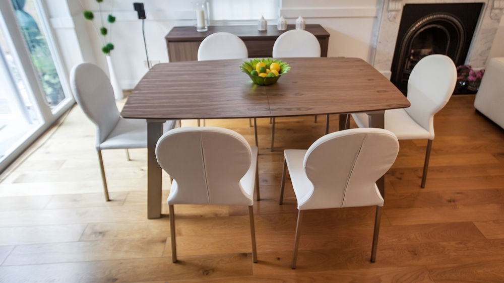 Brushed Metal Dining Tables Throughout Newest Extending Trendy Walnut Dining Table And Chairs (View 3 of 20)