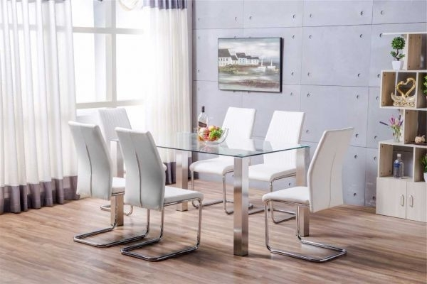 Brushed Metal Dining Tables With Newest Salerno Clear Glass And Brushed Stainless Steel Metal Modern Stylish (View 5 of 20)