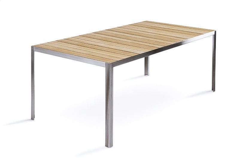 Brushed Metal Dining Tables Within Newest Contemporary Dining Table / Teak / Brushed Metal / Chrome Steel (View 6 of 20)