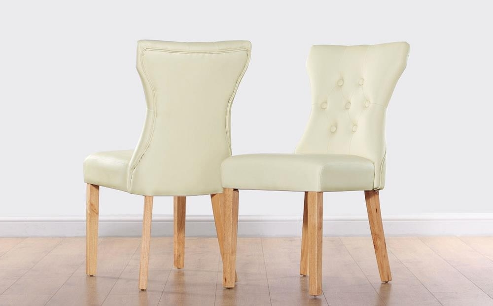 Button Back Dining Chairs Inside 2018 Bewley Ivory Leather Button Back Dining Chair (Oak Leg) Only £ (View 2 of 20)