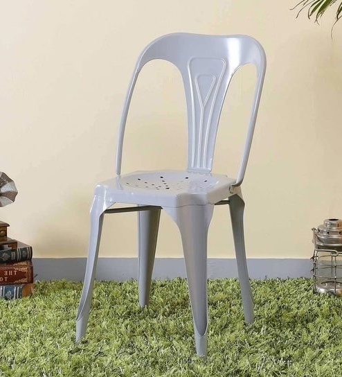 Buy Amos Metal Chair In Steel Grey Colorbohemiana Online – Metal Throughout Latest Amos 6 Piece Extension Dining Sets (View 18 of 20)