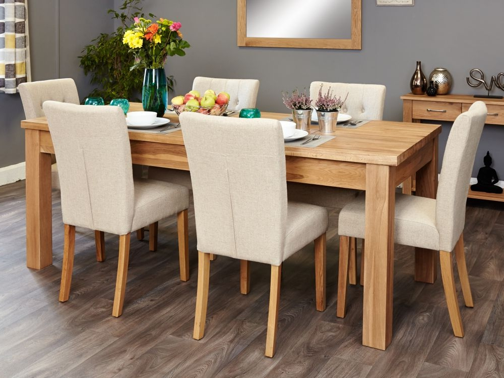 Buy Baumhaus Mobel Oak Extending Dining Set With 6 Flare Back Cream With Regard To Preferred Extending Oak Dining Tables And Chairs (View 4 of 20)