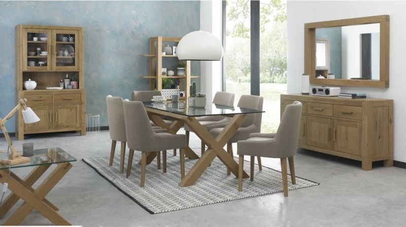 Buy Bentley Designs Turin Light Oak Glass Top Rectangular Dining Pertaining To Newest Glass Top Oak Dining Tables (View 2 of 20)