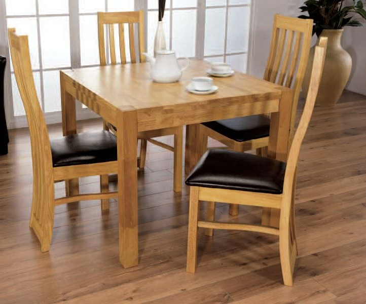 Buy Eve Natural Oak Square Dining Set With 4 Chairs – 90Cm Online With Trendy Square Oak Dining Tables (View 3 of 20)