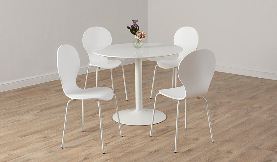 Buy George Home Wyatt Circular Dining Table And 4 Chairs – White Within Latest Wyatt Dining Tables (View 16 of 20)