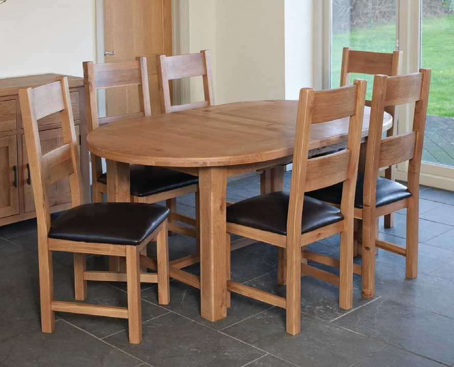 Buy Hampshire Oak Oval Extending Dining Set With 6 Padded Seat Within Well Known Extending Dining Tables With 6 Chairs (View 12 of 20)